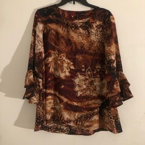 Brown multicolored blouse